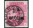 SG O9. 1890 5/- Rose. Superb well centred used...