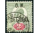 SG O38. 1902 2d Yellowish green and carmine-red. Brilliant fine