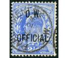 SG O39. 1902 2 1/2d Ultramarine. Superb fine used...