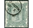 SG128. 1878 10/- Greenish grey. Superb used with beautiful colou