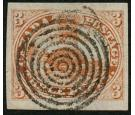 SG1a. 1851 3d Orange-vermilion. 'Laid Paper'. Superb fine used..