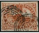 SG8b. 1852 3d Brown-red. 'Major re-entry'  Very fine used with b