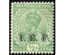 I.E.F. SG E2b. 1914 1/2a Light green. 'Overprint Double'. Superb