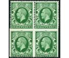 SG439b. 1934 1/2d Green. 'Imperf. three sides'. U/M mint block..