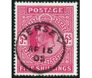 SG263. 1902 5/- Bright carmine. Lovely used example...
