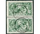 SG404. 1913 £1 Dull blue-green. Exceptional used pair...