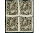 SG215. 1911 50c Sepia. Brilliant fresh U/M mint block of 4...