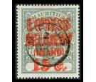 "SG E6c. 1904 15c Grey-green. Surcharge double, one ""LNIAND"". Sup"