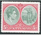 SG77ba. 5/- Bluish green and scarlet. 'Break in value tablet'. U