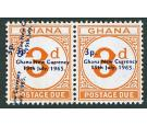 SG D21 Variety. 1965 3p on 3d Orange. 'Surcharge Double, One Dia