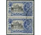 "SG245a. 1935 3 1/2a Black and dull ultramarine. ""Bird"" flaw. Use"
