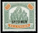 SG66s. 1897 $25 Green and orange. Superb fresh 'SPECIMEN'...